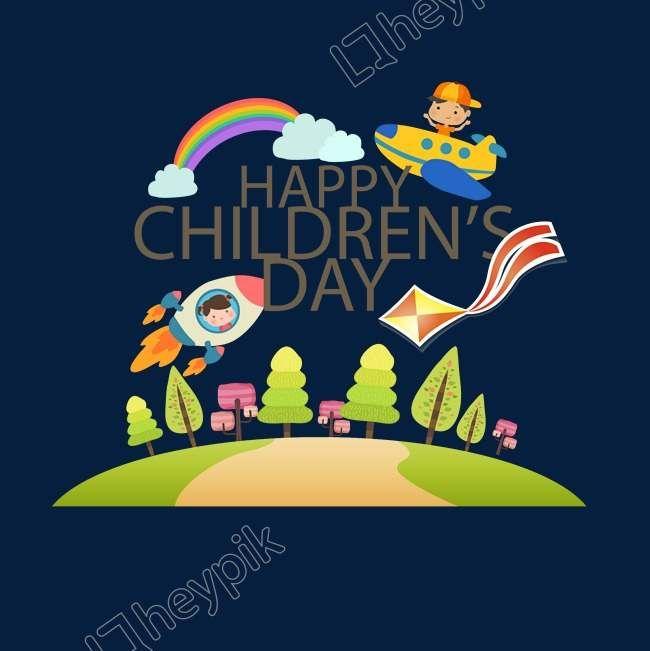يوم الطفل يوم الطفل الأطفال الطيران الطائرة قوس قزح الغيوم الغيوم وودز الزهور الصواريخ طائرة ورقية ناقل منظمة ال Png Poster Childrens