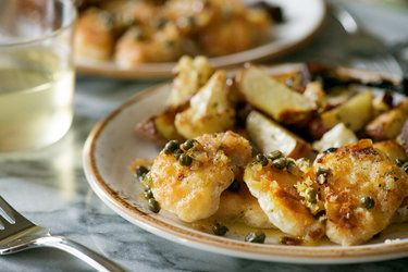 Monkfish with caper butter
