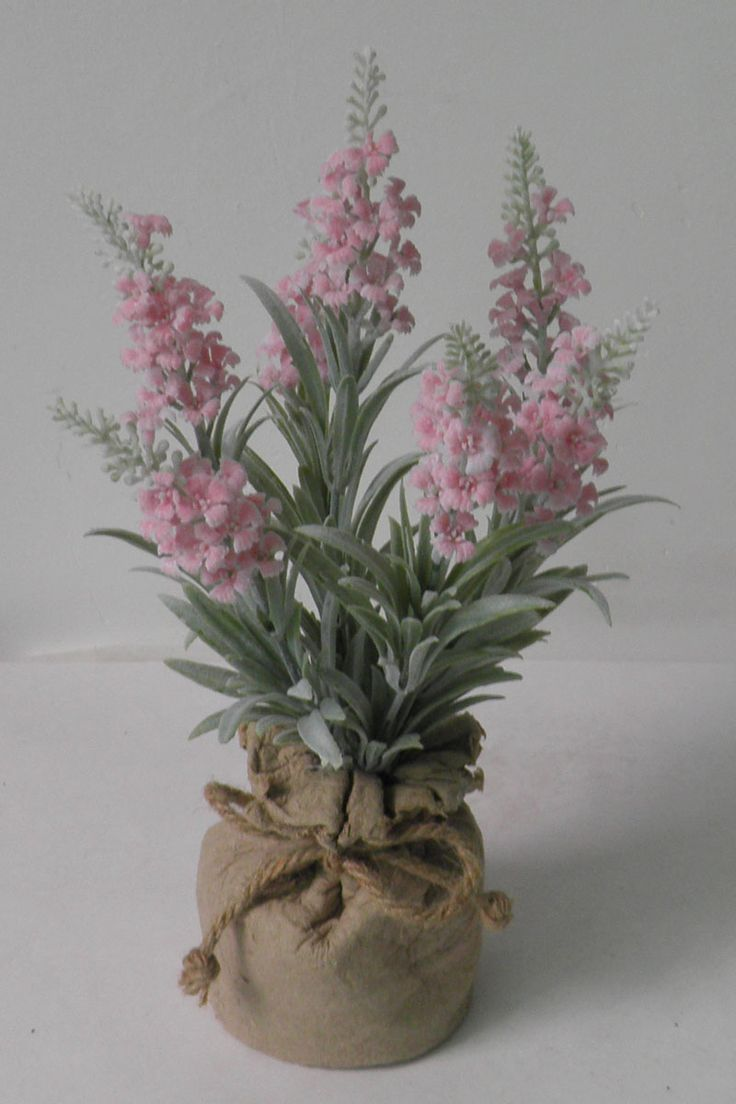 lavender in paper mache pot , nice pink  silk lavender
