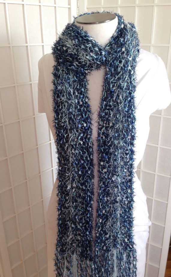 Dark blue and mint blue fashion eyelash ribbon sequin yarn knitted scarf, blue knit scarf  with fun fur eyelash yarn,  long scarf