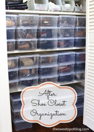 Shoe Closet Organization - The Sweet Spot Blog. Buy them as a case of 20, they're $1.69 each.