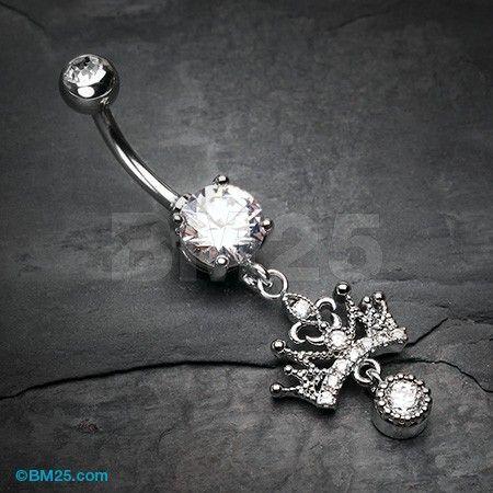 Royal Princess Crown Sparkle Belly Button Ring