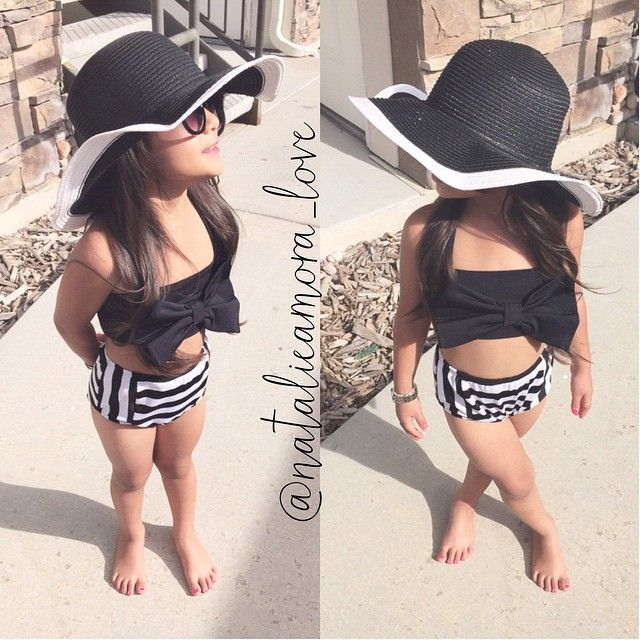 In love with this super CUTE!!✨✨ Bow high waisted bowkini Get summer ready☀️ and follow @koala_t_fashion for the cutest mommy and me swimsuits Chanel inspired straw hat from @fashionkidstore