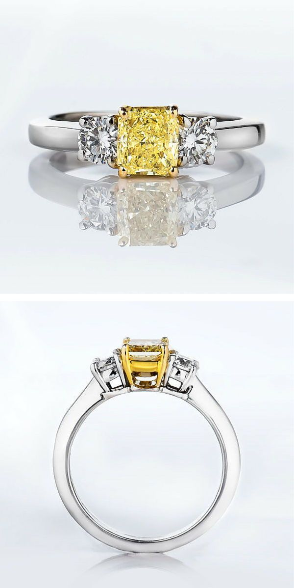 3 Stone Canary Yellow Diamond Engagement Ring featuring 0.77ct yellow diamond and total weight of 1.21 carats  http://www.naturallycolored.com/engagement-rings/radiant-cut-3-stone-fancy-yellow-diamond-engagement-ring-1_21ct-r1279