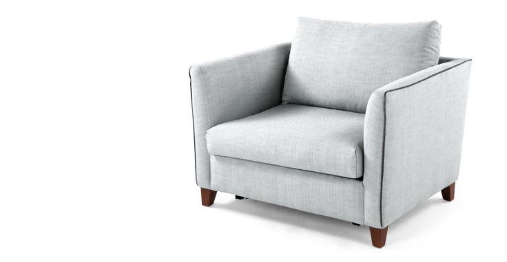 Bari, un fauteuil convertible, bleu gris | made.com