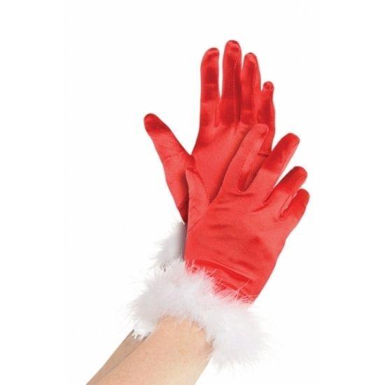 Rode kerstvrouw handschoenen. Rode kerst handschoenen voor dames.