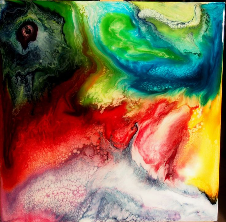 Prime Cell - 49x49cm Colorful Abstract Painting Resin Art Fluid Acrylic Metalic Beautiful by pinstriperPL on Etsy