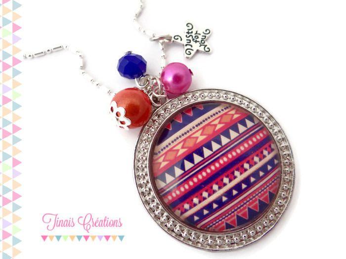 Collier sautoir cabochon - Azteque bleu et rose - orange perle breloque argenté verre : Collier par tinais-creations