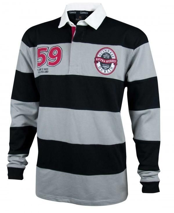Guinness Grey & Black Striped Rugby Jersey