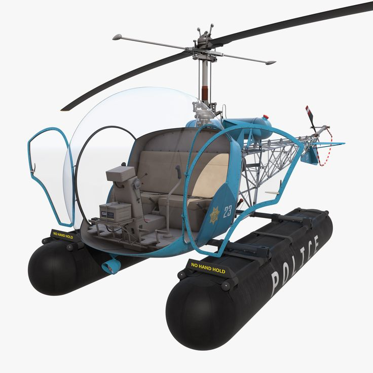 Bell 47 On Floats Police3d model
