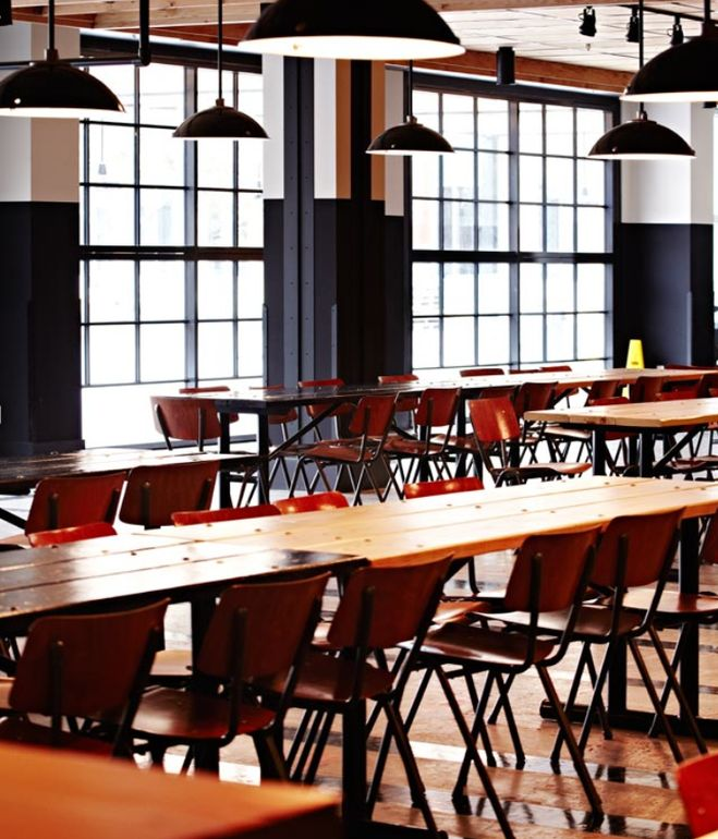 The 24-hour dining and social space for Facebook's 6,000 or so employees. by Roman and Williams