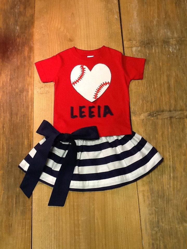 Girls Baseball Outfit. Skirt & Shirt Set. Personalized Name, Team Name, Number. Red White Navy Blue. Or Any Team Colors By EverythingSorella by EverythingSorella on Etsy