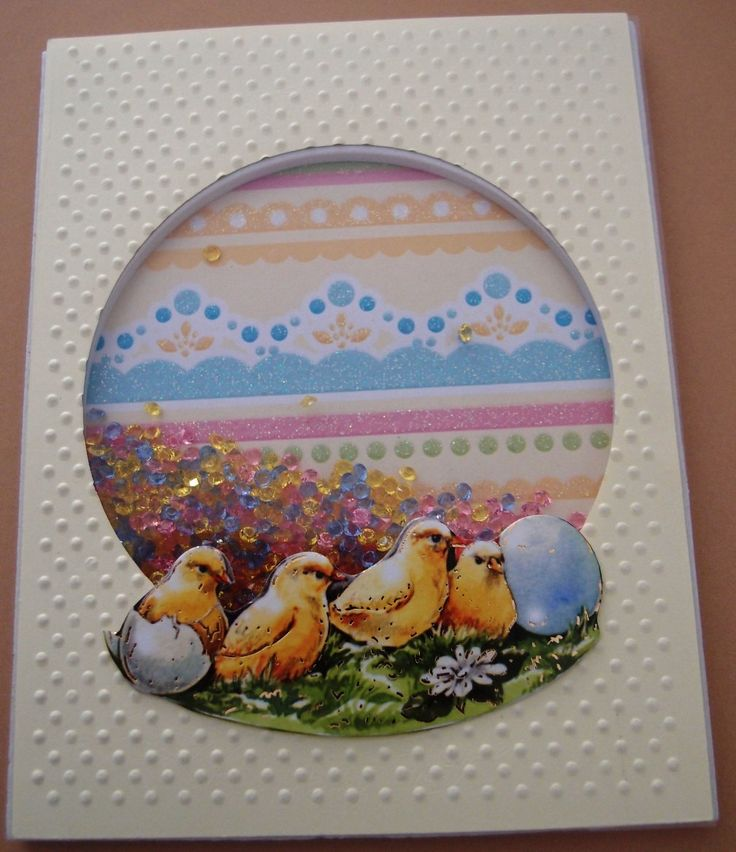 Easter Shaker Greeting Card - Easter Chicks by PaperHydrangea on Etsy