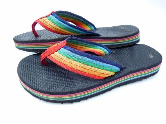 Vintage 1980s 80s Rainbow Flip Flops Womens Size 6 by MissCecelia