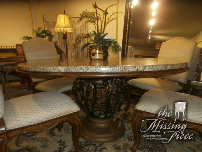 Drexel Heritage Dining Table With Thick Marble Top Resting On A Wood Plank And A Gold Scrolled Metal Base Six 6 Upho Table Dining Table Round Dining Table
