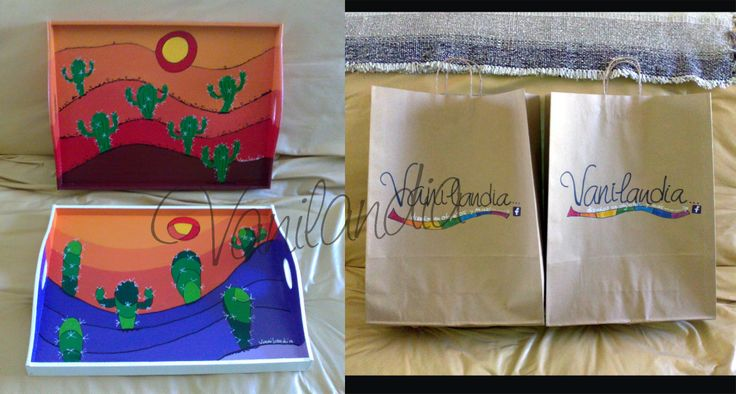 dos bandejas de madera pintadas medidas 30x40 (cm) salen con su bolsita de cartón pintada a mano! la bolsa se pide con anticipación
