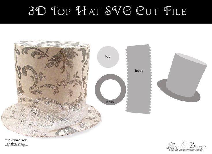 (8) Name: 'Paper Crafts : 3D Top Hat SVG Cut File
