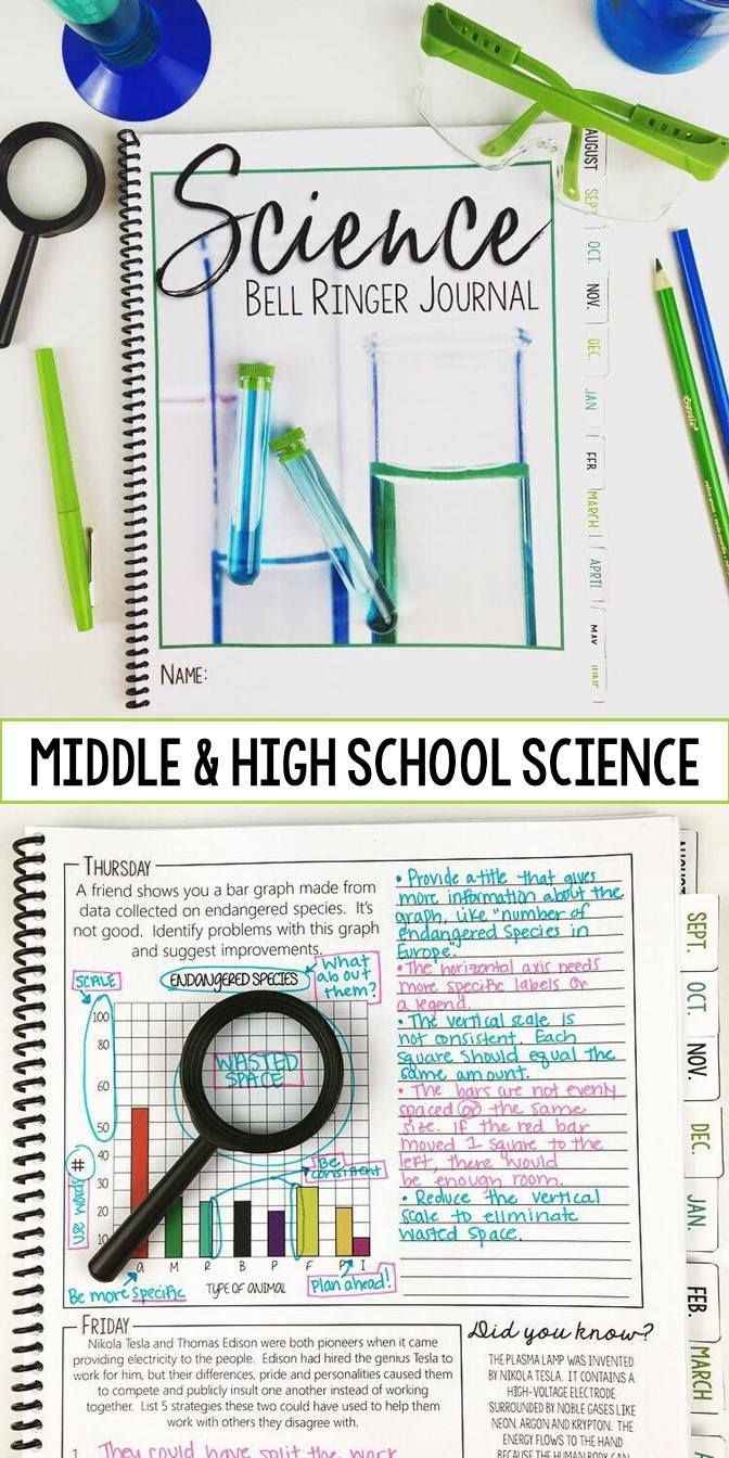 "FREE SAMPLE: Science Bell Ringer Journal. Create routine with your students. Each day, your students will know to grab their bell ringer journal and begin working on the prompt. Forget having to come up with creative bell ringer prompts on the spot each morning, that's all taken care of for you! You now have time to focus on your other planning. The prompts provide get students in the ""Science Zone"" and ready to focus on the day's work! No mess, easy to grade, and simple to keep organiz..."