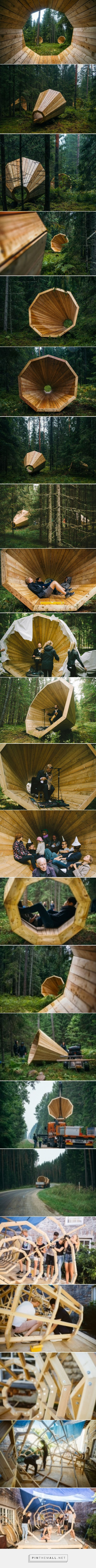 estonian students amplify forest ambiance with megaphone-like library spaces - created via http://pinthemall.net