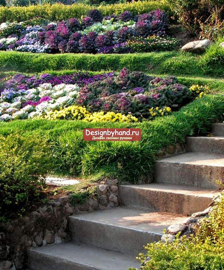 ландшафтный дизайн. Озеленение участка на склоне