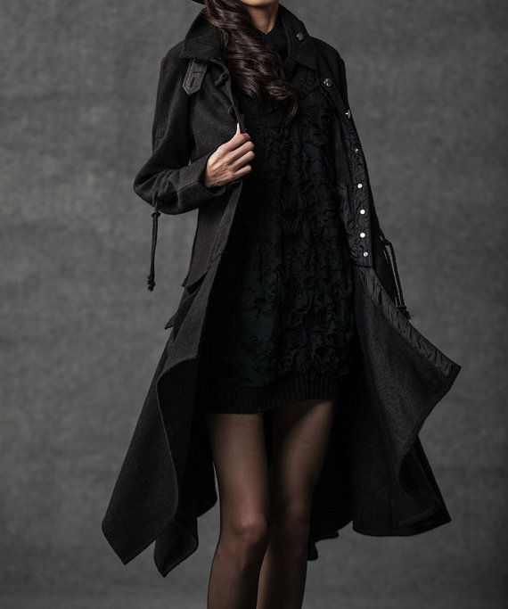 This black swing coat will make any outfit go from drab to fab! This quality wool coat has oodles of great designer details such as the stand-up collar and pixie rag hemline skirt. The coat is a fit-and-flare style that is very flattering on most women. When its cold outside, there is nothing better than a comfortable but stylish new coat. You want to be unique but you also want to be warm and staying warm does not mean you have to look like the Michelin woman! This contemporary winter coat…