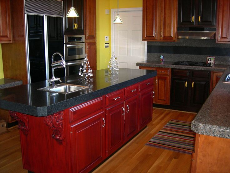 kitchen floors red cabinets hit  cute hanging lamp above modern counter plus single sink and streaky mat on wooden floor for outstanding kitchen with dark backsplash color closed refinish oak kitchen cabinets 1208x906