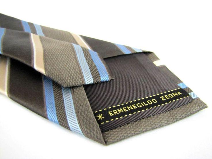 ERMENEGILDO ZEGNA Tie Chocolate Brown Navy Blue Striped Textured Silk Necktie XL #ErmenegildoZegna #Tie