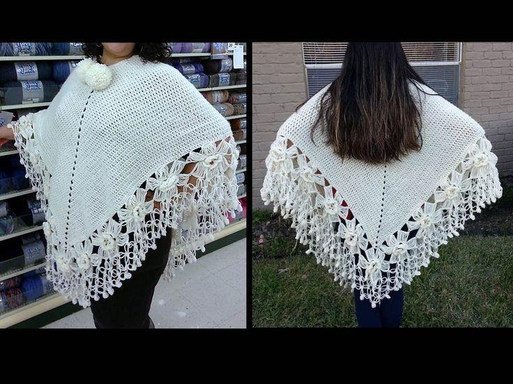 Como tejer un poncho a Crochet paso a paso TUTORIAL. #crochetponcho #crochetcape