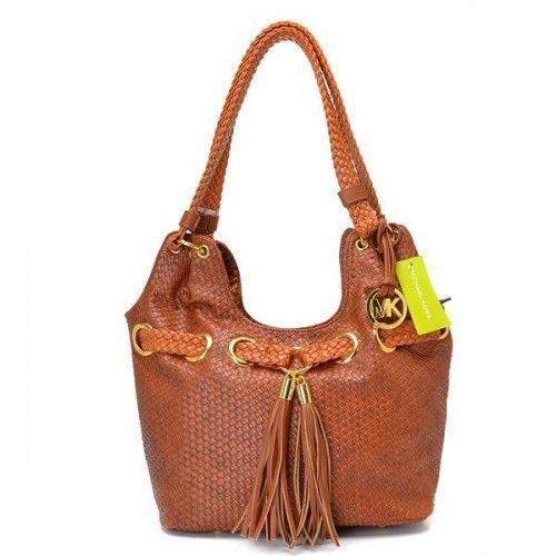 Michael Kors Logo Large Brown Shoulder Bags