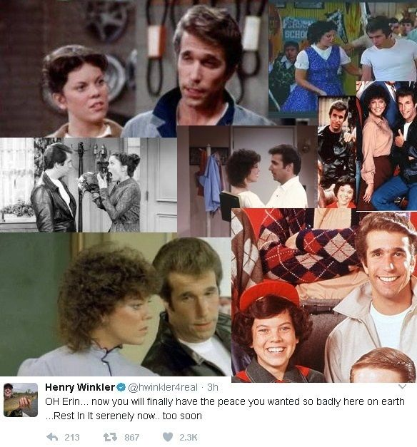 Actress Erin Moran (Aka Joanie Cunningham, Aka Shortcake) passed away today, she played one of my favorite characters in the tv show Happy Days! Including Henry Winkler's (Aka The Fonz) touching...