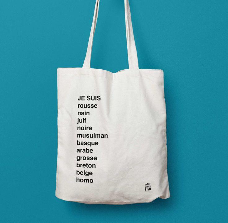 sac tote bag je suis sac cabas shopping bag sac en tissu sac en coton personnalis de la. Black Bedroom Furniture Sets. Home Design Ideas