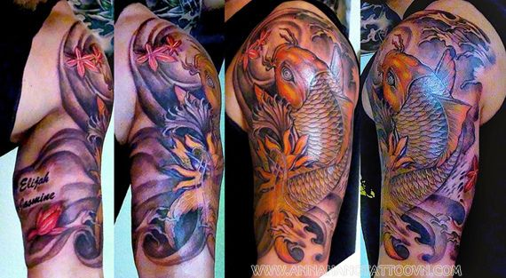 Tattoo design koi fish half sleeve by annahangtattoo, via Flickr