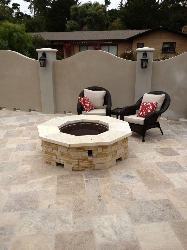 """This is a custom built surround with our 37"""" electronic ignition gas fire pit insert."""