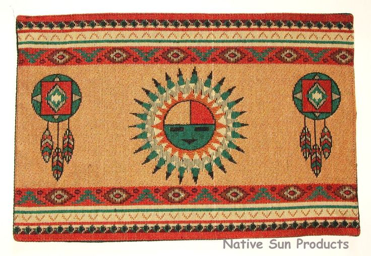 """Dress up your next gathering with these beautiful woven SUNFACE southwestern placemats. 13x19"""" w/ an extra layer of fabric added to backside for durability. $10.95 ea w/ free shipping Table runners to match in our ebay store. #placemats #sunface"""