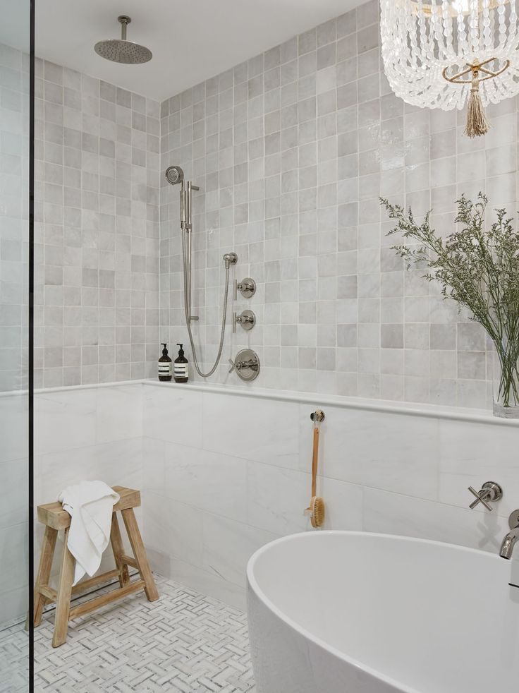 Muted Materials Depth Of Textures And Feminine Details In A Spa Like Master Bathroom Rue Spa Like Bathroom Master Bathroom Budget Bathroom Remodel