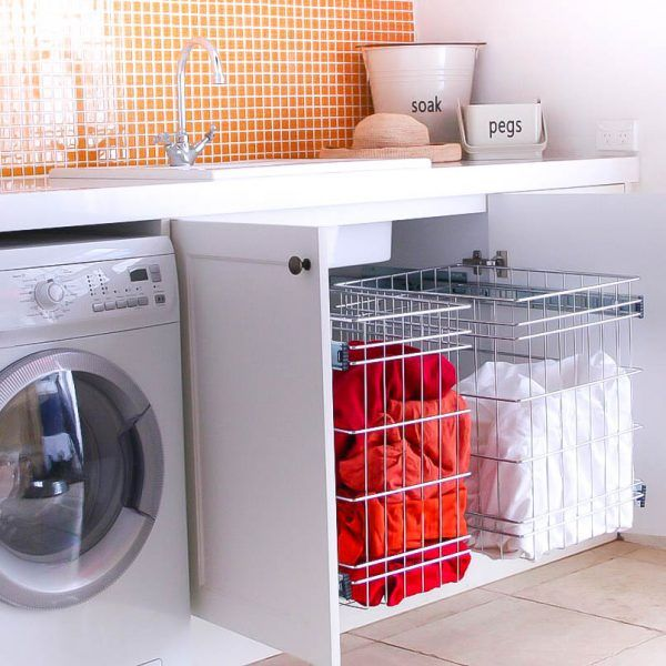 Stainless Steel Pull Out Laundry Baskets For Storage Cabinets