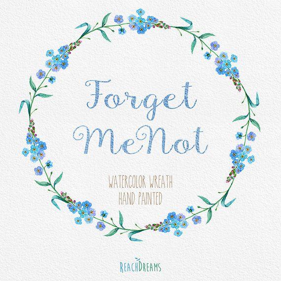 Hochzeitseinladung Blütenkranz Vergissmeinnicht
