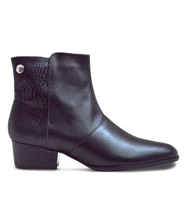 Another great find on #zulily! Black Snake-Accent Leather Amuse Ankle Boot #zulilyfinds