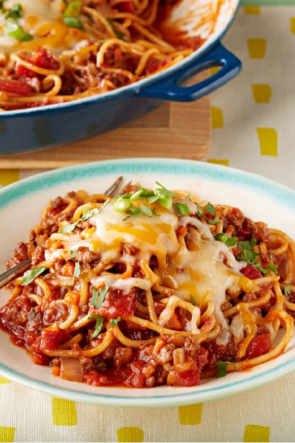 Cowboy Spaghetti Western Skillet – Cooking the spaghetti in tomatoes, beef broth and BBQ sauce helps give this beefy skillet recipe a flavor as big as Texas.