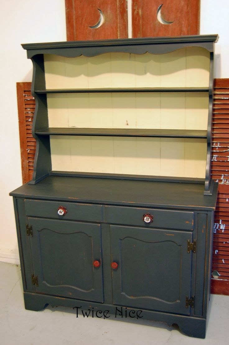 Twice Nice Lovely Redo Of Dated Ethan Allen Hutch Love The Colors