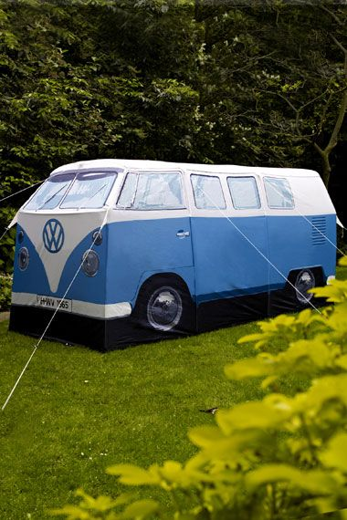 VW campervan tent.  You can decide whether you want one large living area or two separate areas inside and it sleeps up to four people, is fully waterproof and tall enough to stand up in.