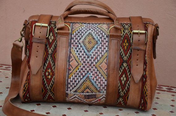 Great looking with this Carry on travel tapestry Leather Duffle Bag now in NEW YORK on Etsy, $389.00