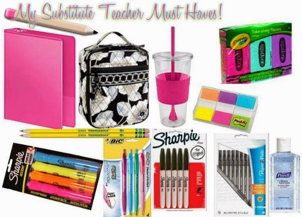 Here is a list of must haves that I bring with me on a typical day of substitute teaching!    I have a medium sized tote bag that I bring...