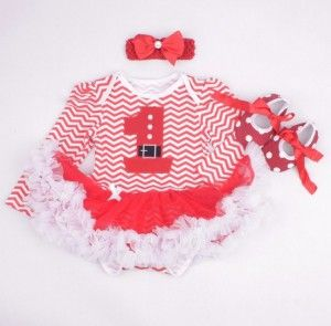 Baby Tutu Christmas Stripes Red