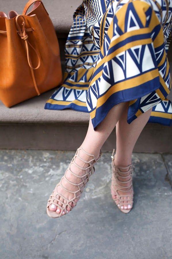 Dress: Topshop Stripe Print Midi Dress. Bag: Mansur Gavriel. Shoes:  Schutz Juliana Caged Sandals