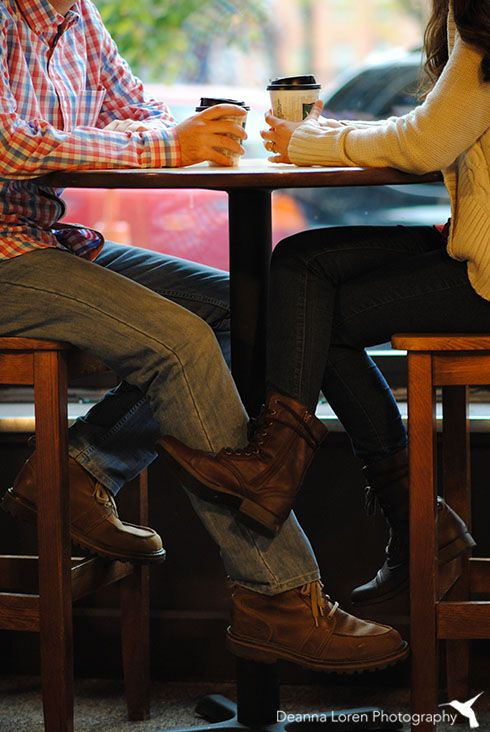 Engagement or couple pictures idea | Stop in your local coffee shop for some adorable photos | Deanna Loren Photography