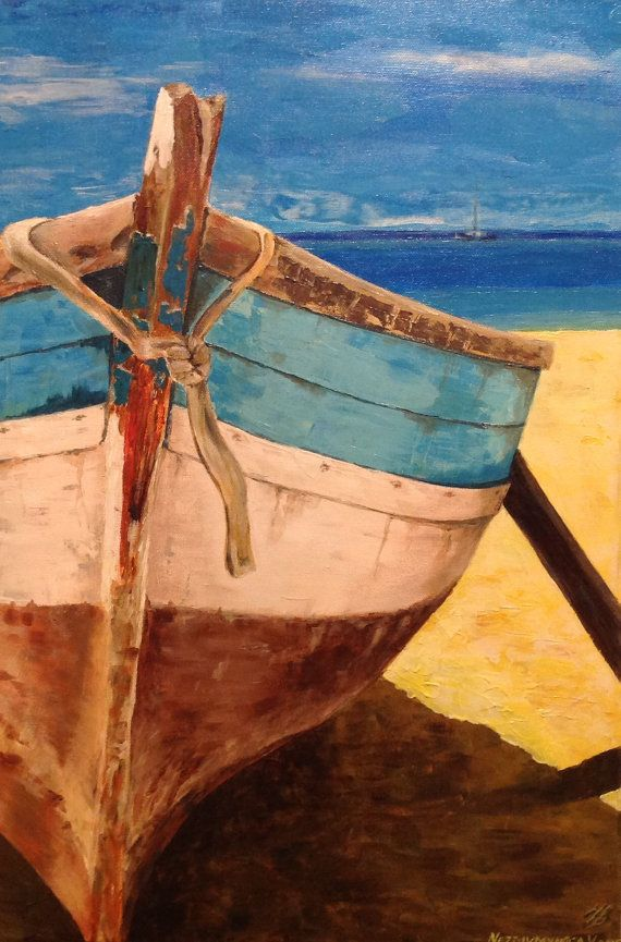Boat Art Painting Original Acrylic by VladimirNezdiymynoga on Etsy