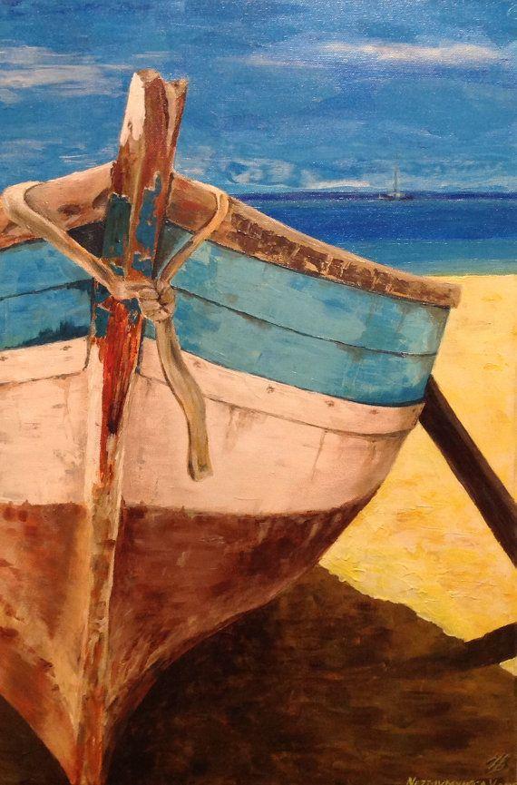 Boat Art Painting Original Acrylic by VladimirNezdiymynoga on Etsy