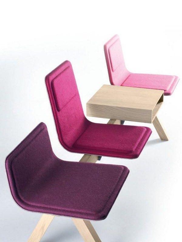 Chaises sur poutre en tissu Collection Laia by ALKI | design Jean Louis Iratzoki