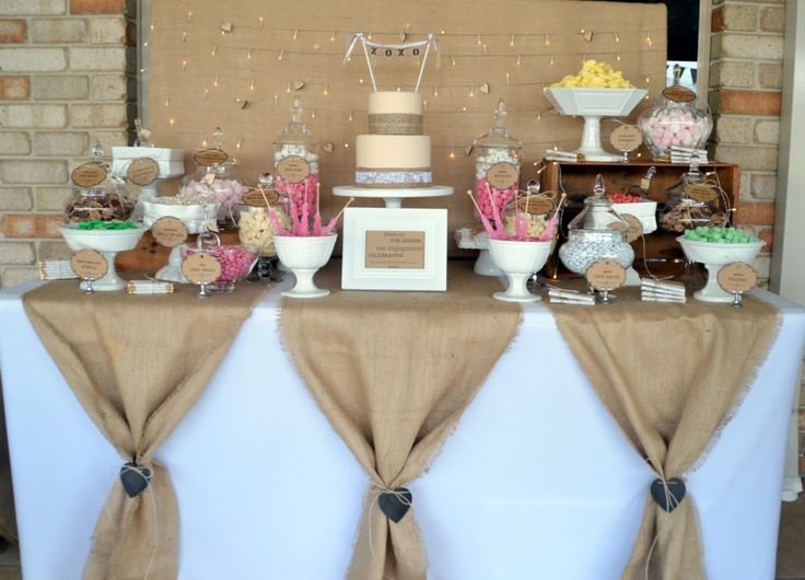for the buffet table but tied with the lace rustic lolly buffet style my celebration
